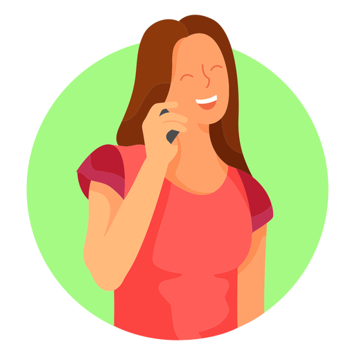 Happy woman cellphone character Transparent PNG