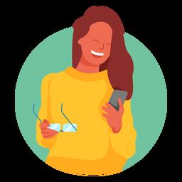 Personagem de celular mulher feliz óculos