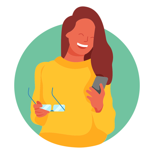 Happy woman glasses cellphone character Transparent PNG
