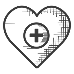 Heart medical care black and white icon