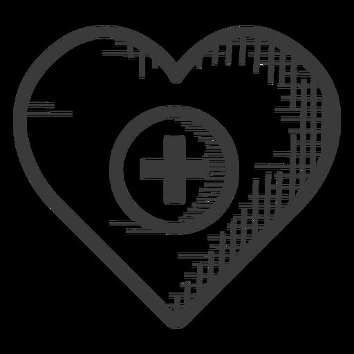 Icono blanco y negro de atención médica del corazón