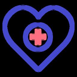 Icono de trazo de atención médica del corazón
