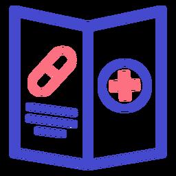 Ícone de traçado de folheto de hospital