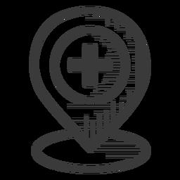 Ícone preto e branco de localização de hospital