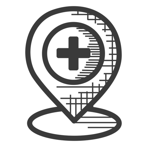 Hospital location black and white icon
