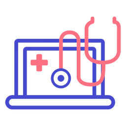 Laptop stethoscope stroke icon