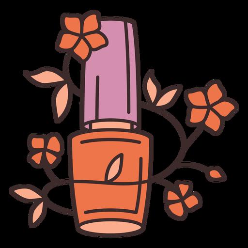 Ilustración floral de esmalte de uñas