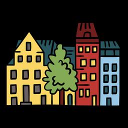 Ilustración de edificios de barrio