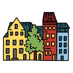 Neighbourhood buildings illustration
