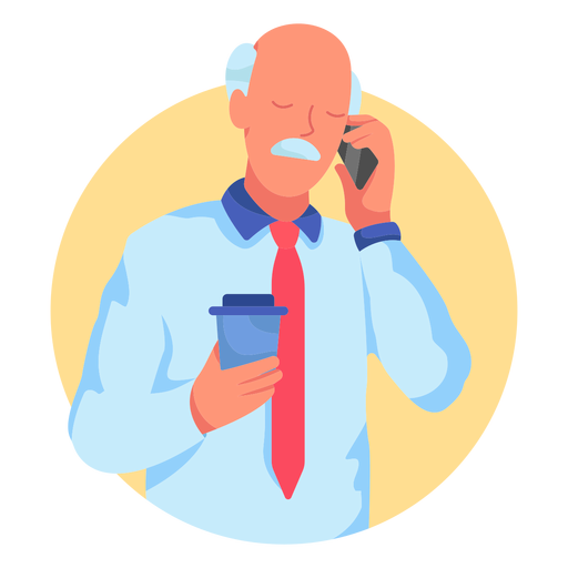 Old man cellphone coffee character Transparent PNG