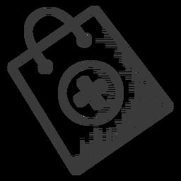 Icono de bolsa de farmacia en blanco y negro