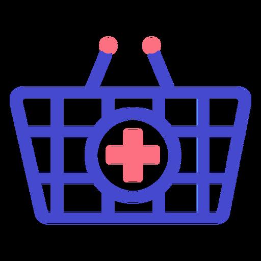 Icono de trazo de cesta de farmacia