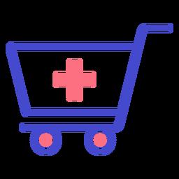 Icono de trazo de carro de compras de farmacia