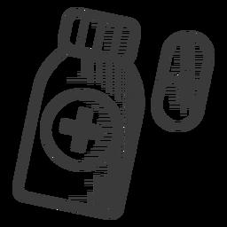 Icono de botella blanco y negro de píldoras