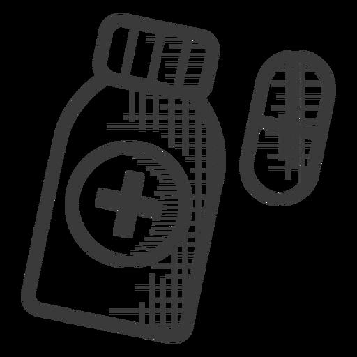 Pastillas botella icono blanco y negro