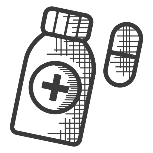 Pills bottle black and white icon