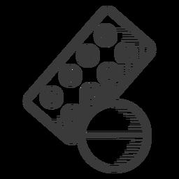 Icono de píldoras medicina blanco y negro