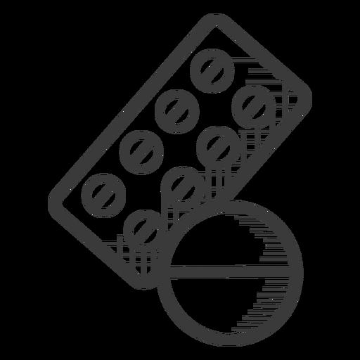 Pastillas medicina icono blanco y negro