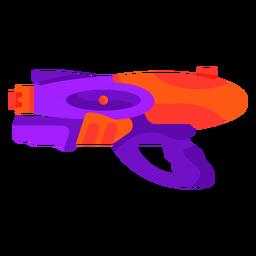 Pistola de agua morada y naranja plana