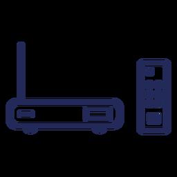Remote control set top box stroke icon