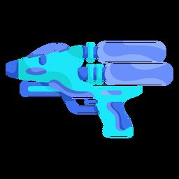 Pistola de água azul céu plana
