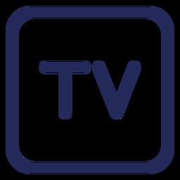 Ícone de traço quadrado na televisão