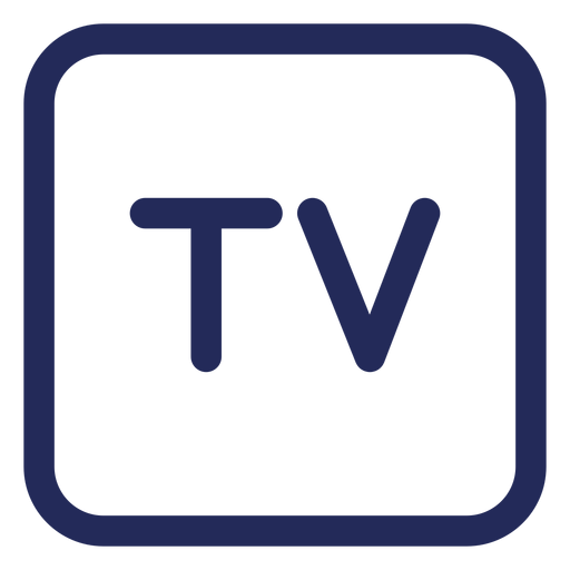 Icono de trazo cuadrado de televisión