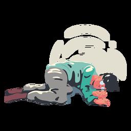 Personagem de homem cansado