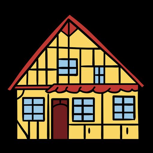 Ilustración de casa tradicional danesa