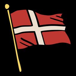 Ondeando la bandera de Dinamarca ilustración