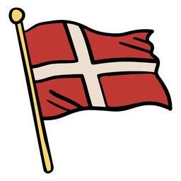 Waving flag denmark illustration