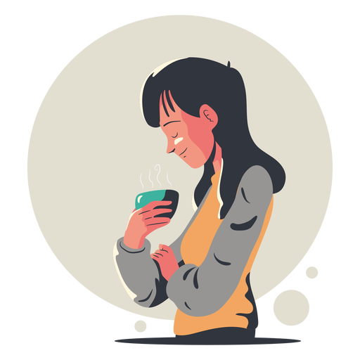 Woman drinking coffee character