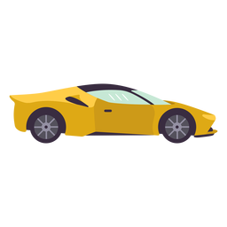 Yellow sports car flat