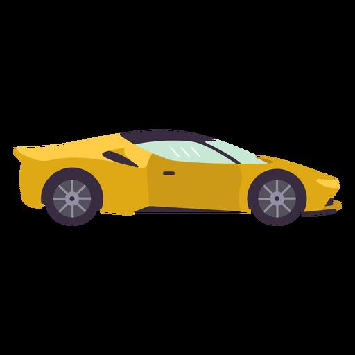 Yellow sports car flat Transparent PNG