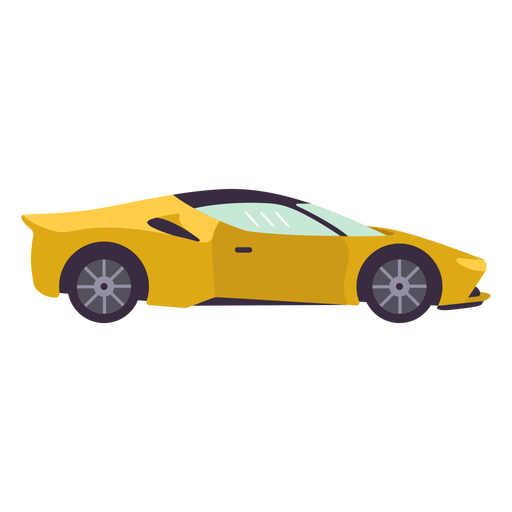 Yellow sports car flat
