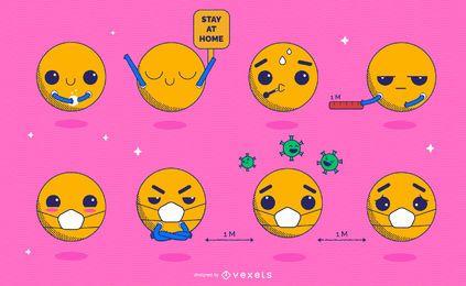 Pacote de Emoji Kawaii de prevenção de coronavírus