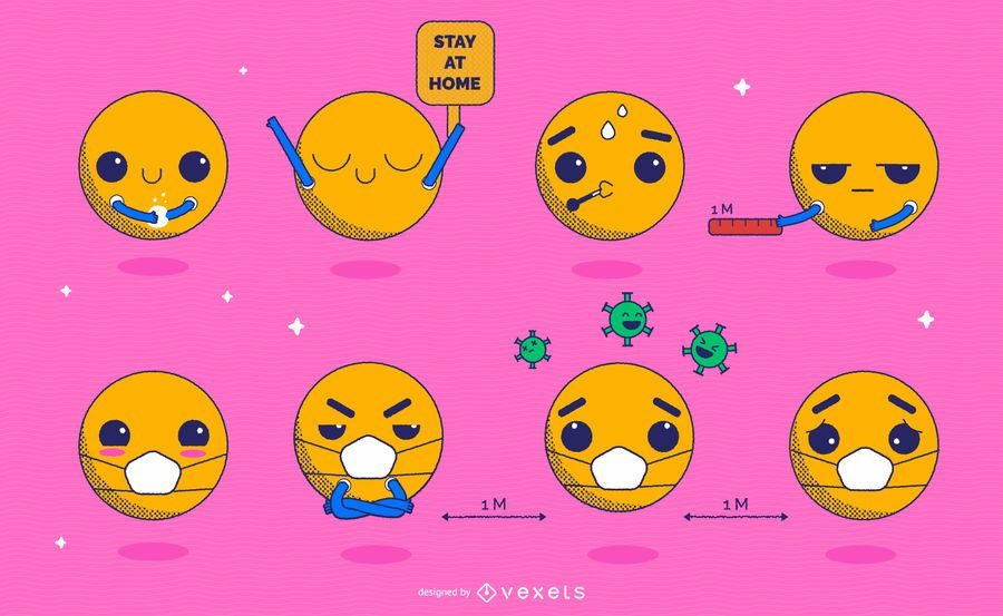 Coronavirus-Prävention Kawaii Emoji Pack