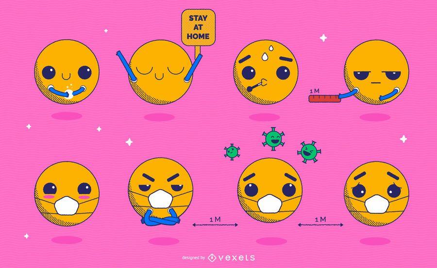 Coronavirus Prevention Kawaii Emoji Pack