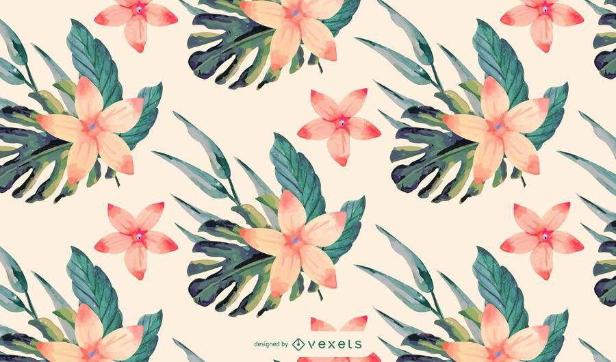 Diseño de patrón de flores tropicales de acuarela
