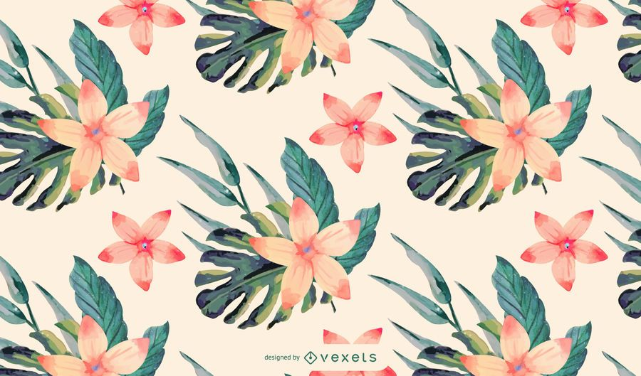 Watercolor Tropical Flower Pattern Design