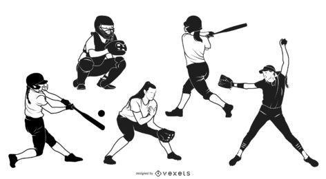 Pacote de silhuetas de meninas adolescentes e softbol