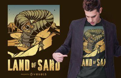 Diseño de camiseta de cita de gusano de duna