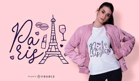 Diseño de camiseta con letras de París