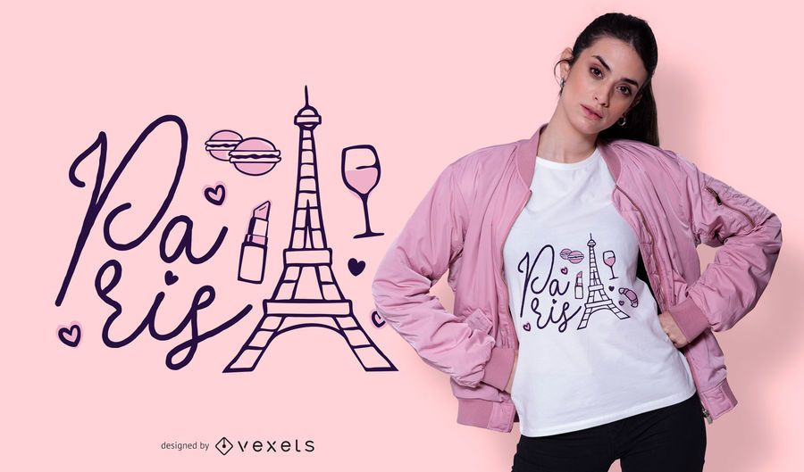 Diseño de camiseta de letras de París