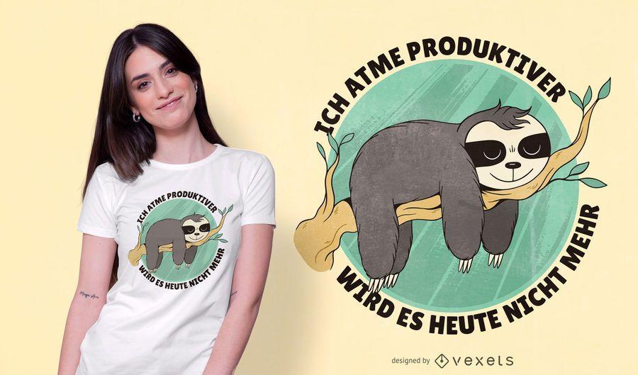 Design alemão engraçado do t-shirt das citações da preguiça