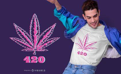 Design de camiseta 420 folha de cânhamo