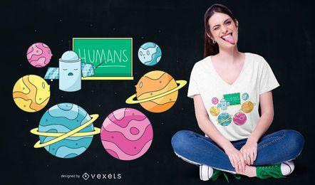 Projeto de t-shirt da escola do planeta