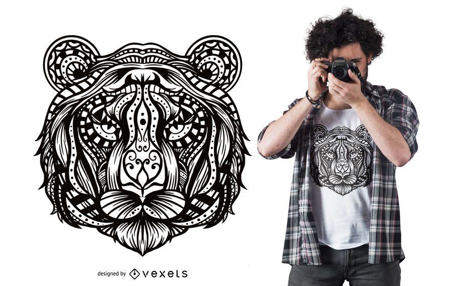 Design de t-shirt de mandala de tigre
