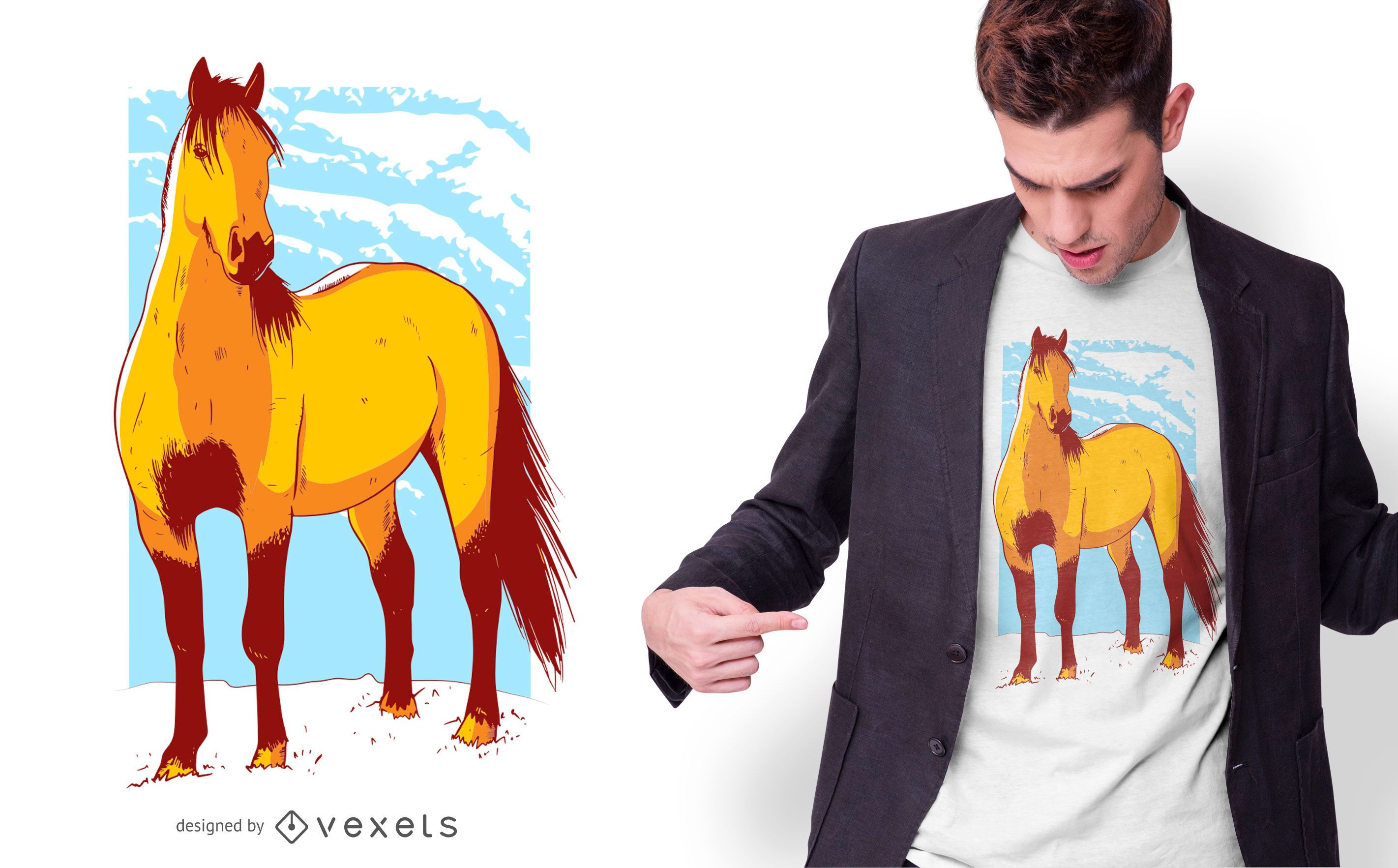 Diseño de camiseta de ilustración de caballo