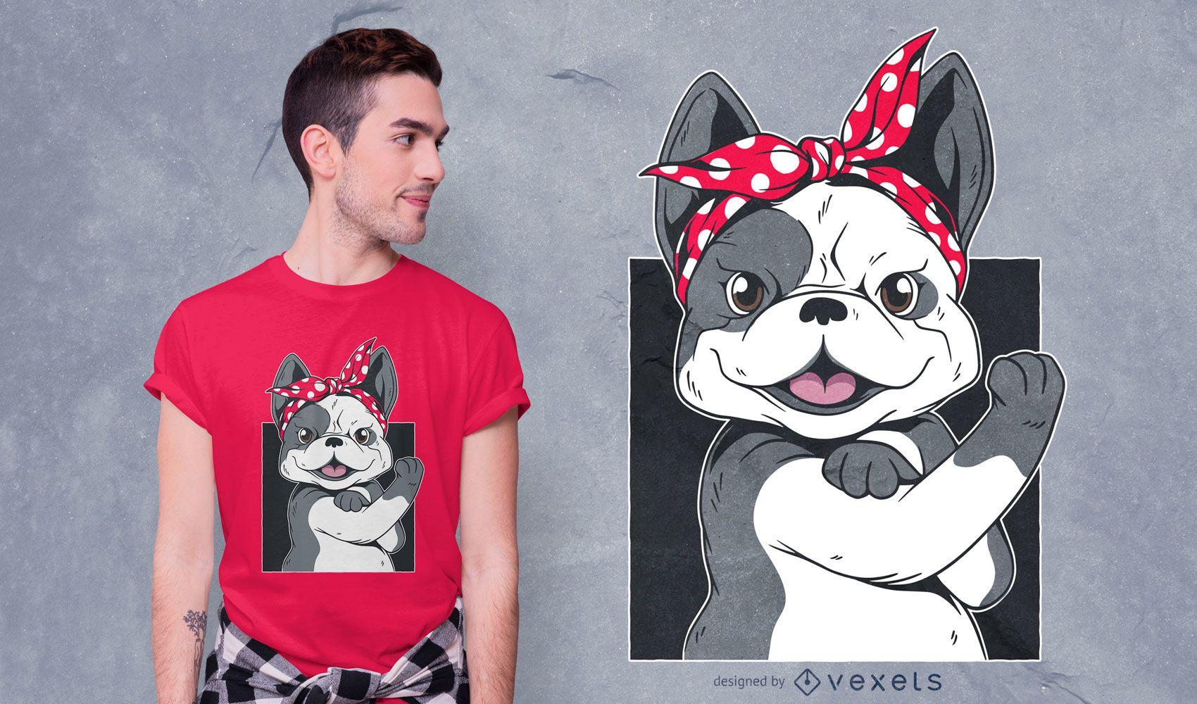 Diseño de camiseta de niña de bulldog francés